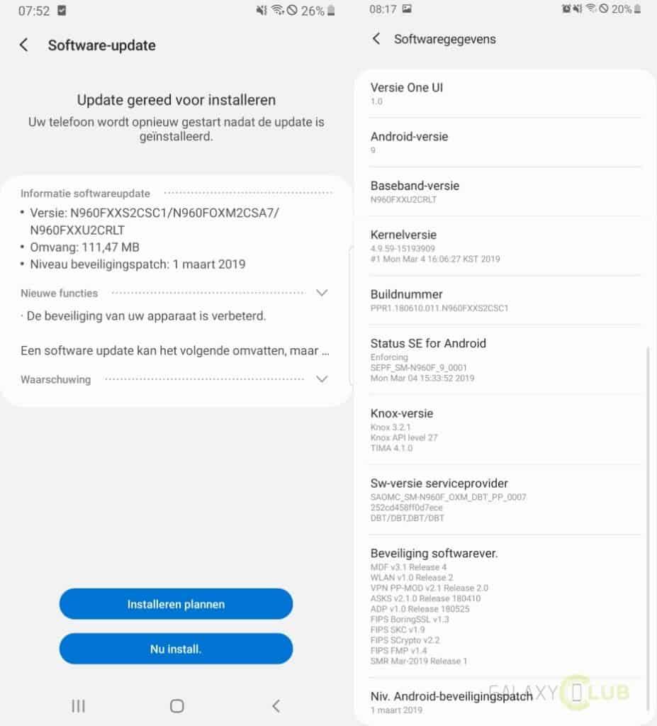 galaxy note 9 update maart 2019 changelist