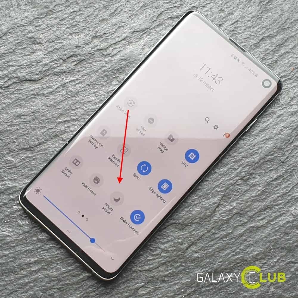 Samsung Galaxy S10 nachtstand inschakelen 1