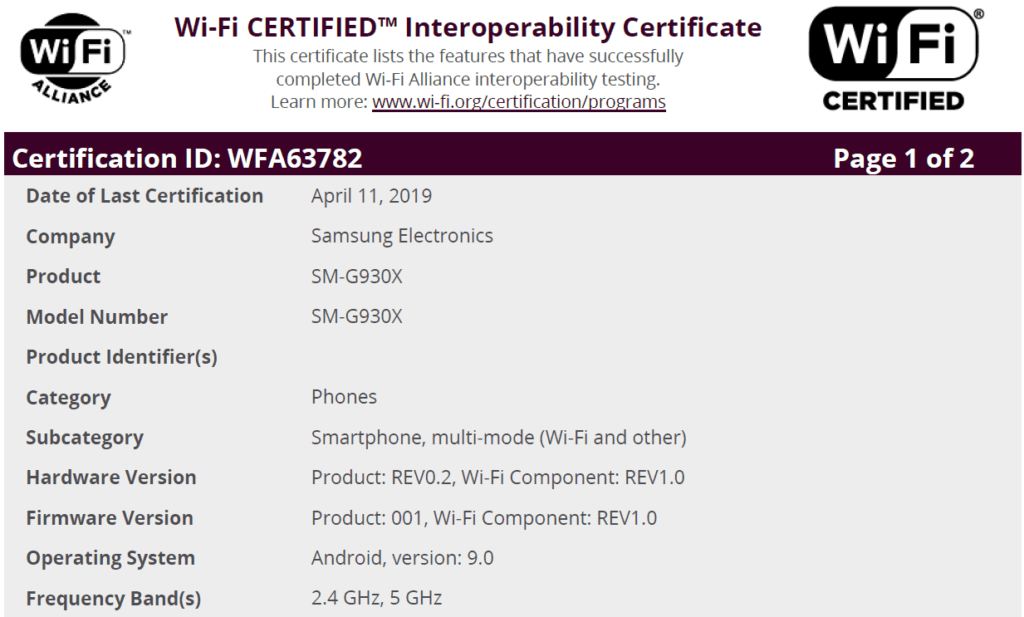 galaxy s7 android 9 wi-fi certificatie sm-g930f