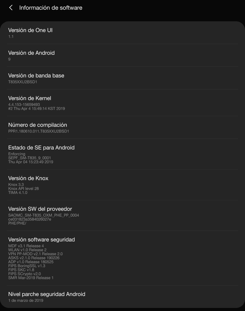 galaxy tab s4 android 9 one ui software info