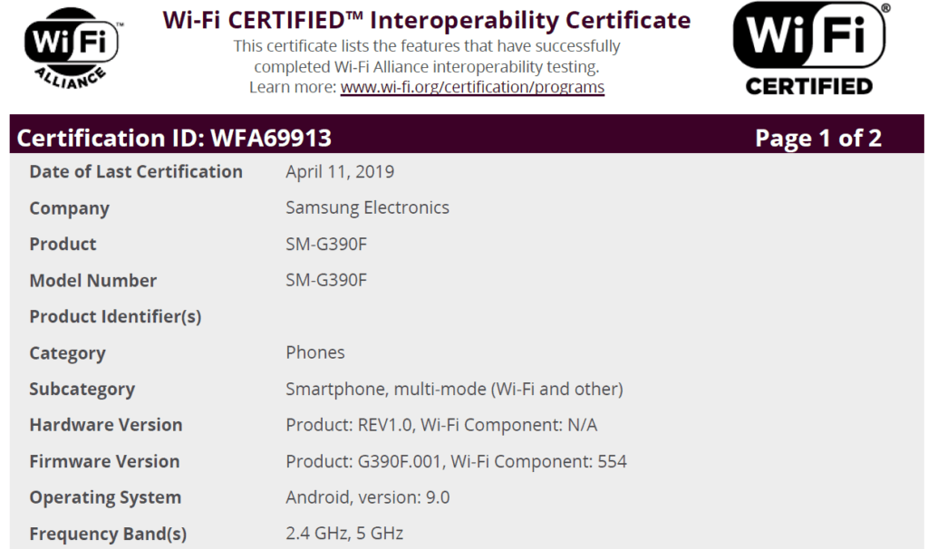 galaxy xcover 4 android 9 wi-fi certificatie sm-g390f