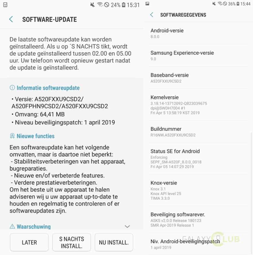 galaxy a5 2017 update april 2019 patch a520fxxu9csd2 changelist