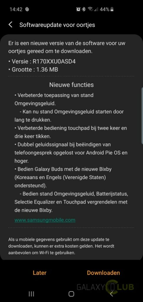 samsung galaxy buds update april