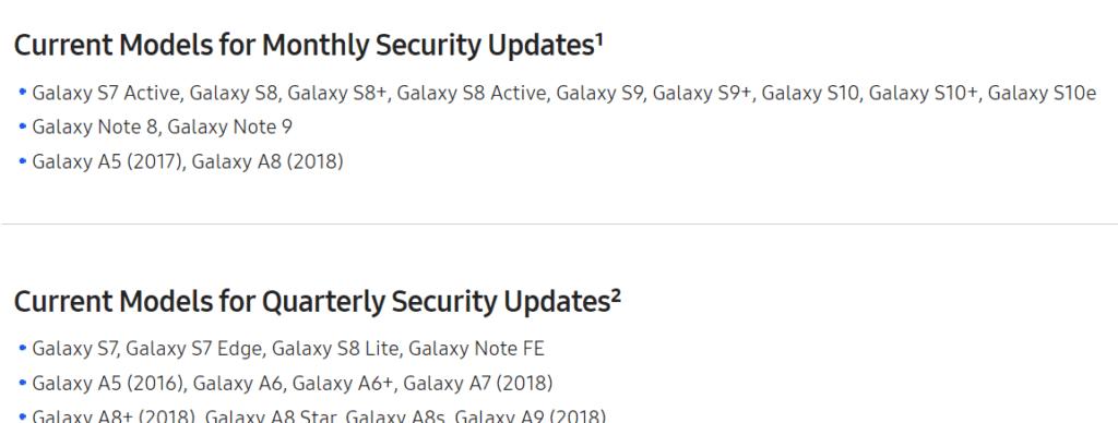 samsung galaxy s7 quarterly updates