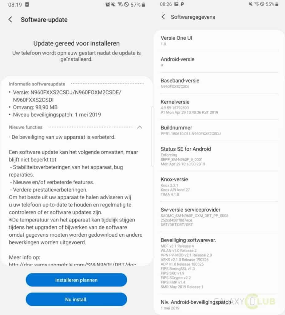 galaxy note 9 update mei 2019 changelog n960fxxs2csdj