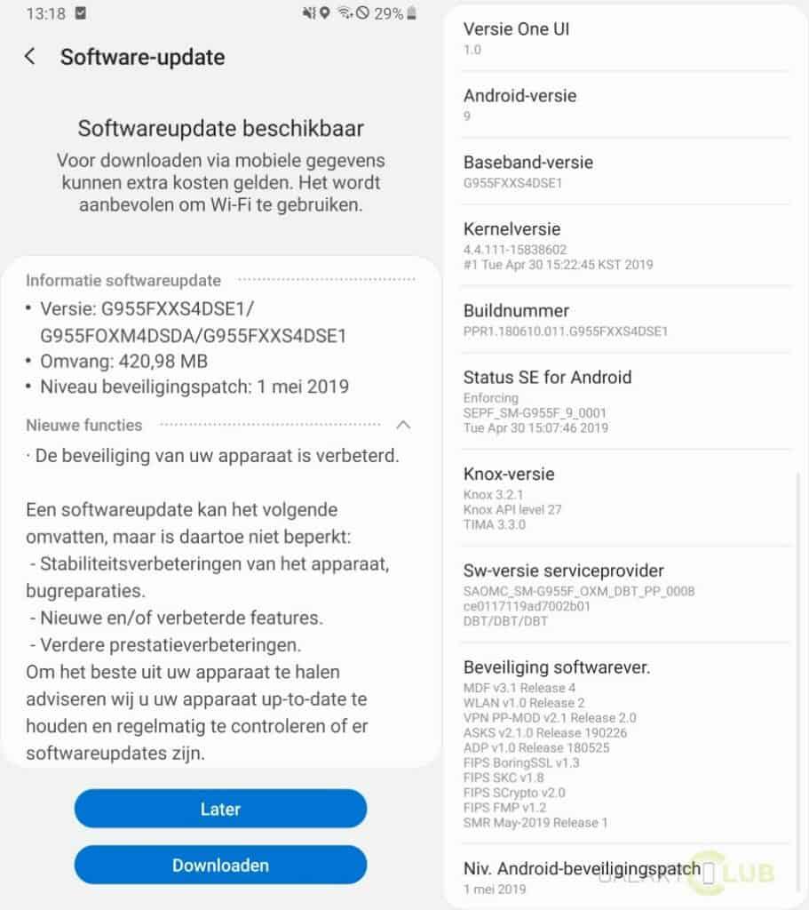 samsung galaxy s8 update mei 2019 g955fxxs4dse1 changelist