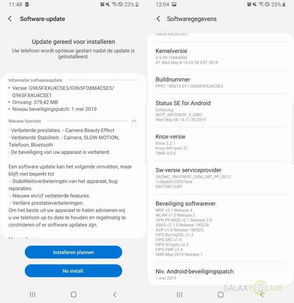 galaxy s9 update mei 2019 changelist g965fxxu4cse3