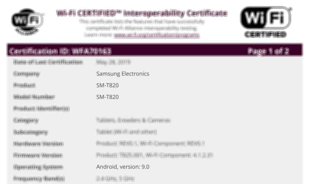 samsung galaxy tab s3 met android 9 gecertificeerd