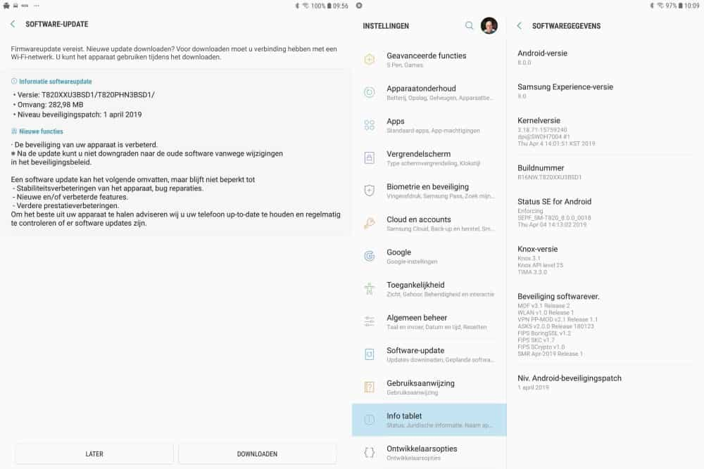 samsung galaxy tab s3 update april mei 2019 changelist