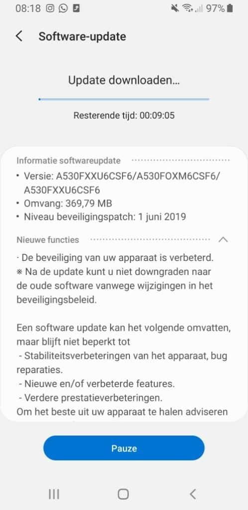 samsung galaxy a8 update juni 2019
