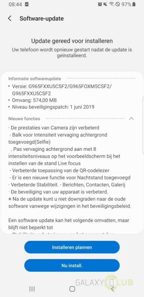 galaxy s9 camera update juni changelog