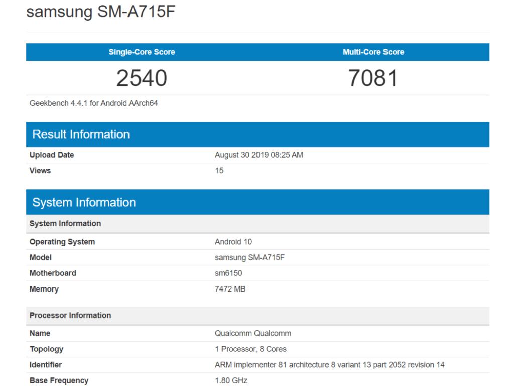 samsung galaxy a71 specs sm-a715f benchmark