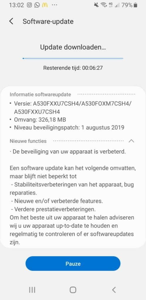 galaxy a8 update augustus 2019 a530fxxu7csh4