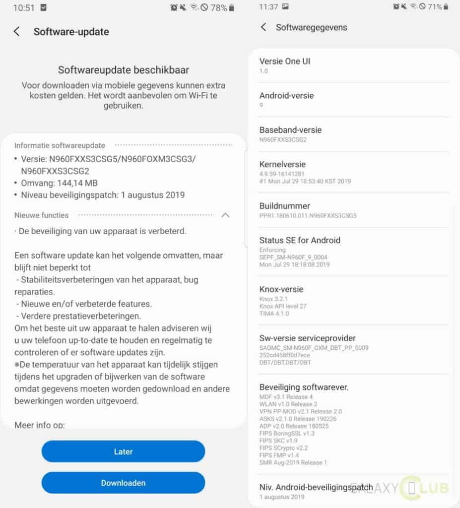 samsung galaxy note 9 update augustus 2019 changelog n960fxxs3csg5