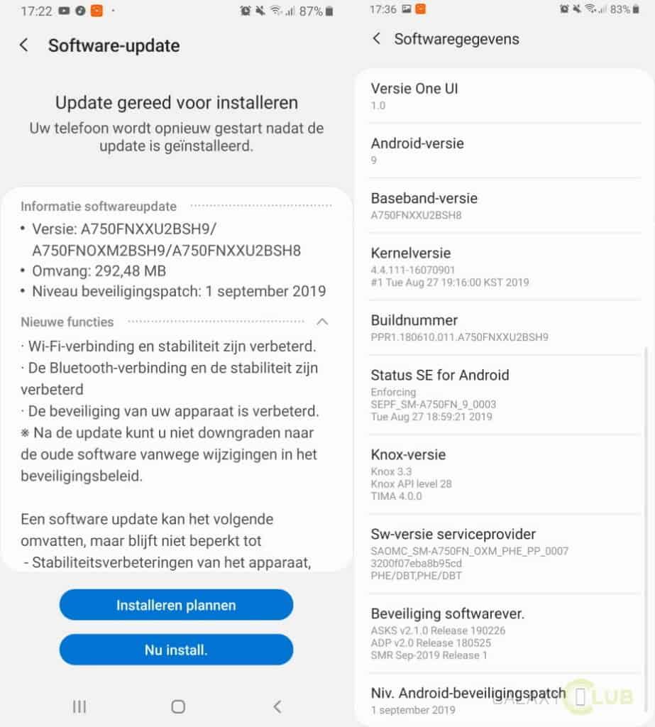 galaxy a7 update september 2019 changelog a750fnxxu2bsh9