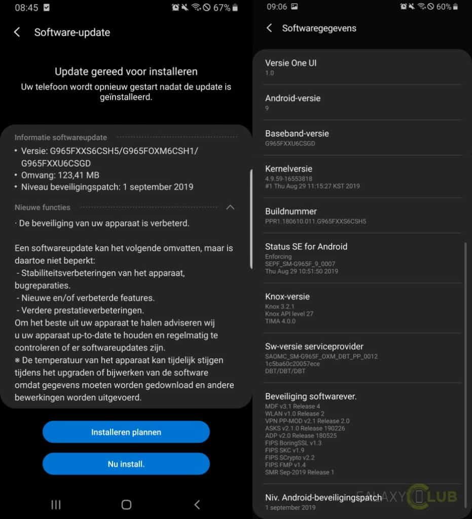 galaxy s9 update september changelist g965fxxs6csh5