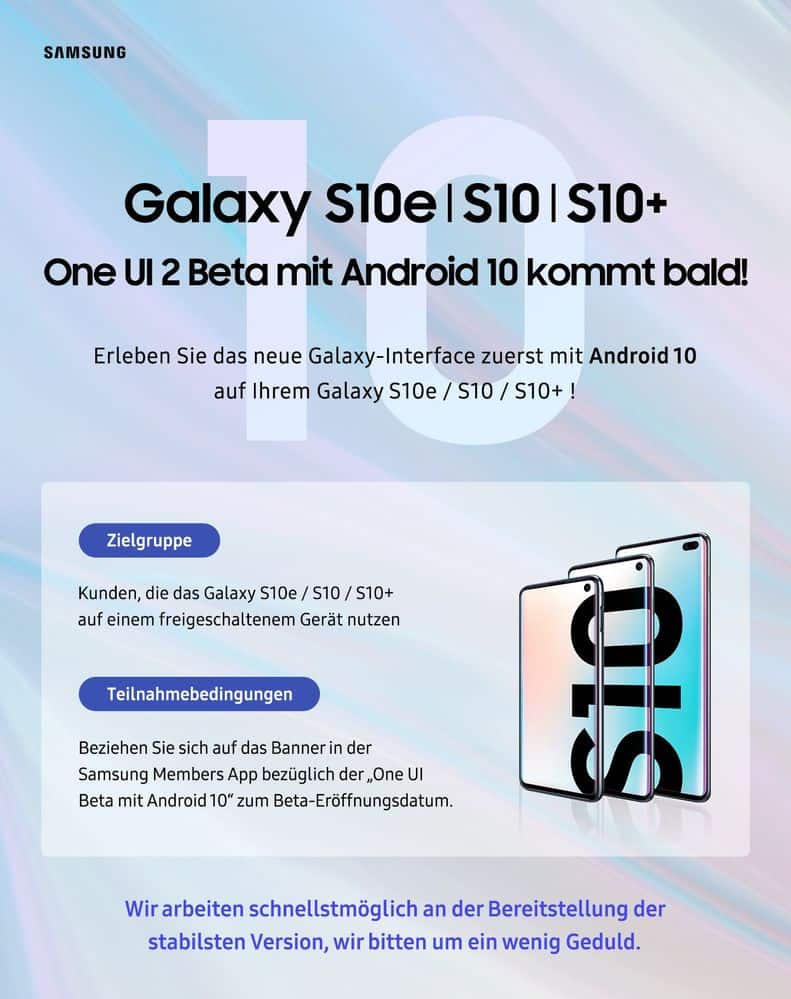 samsung duitsland android 10 beta galaxy s10
