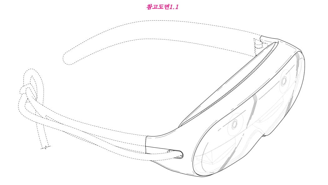 According to the Samsung patent application renders-the right side of the headset includes a wire.