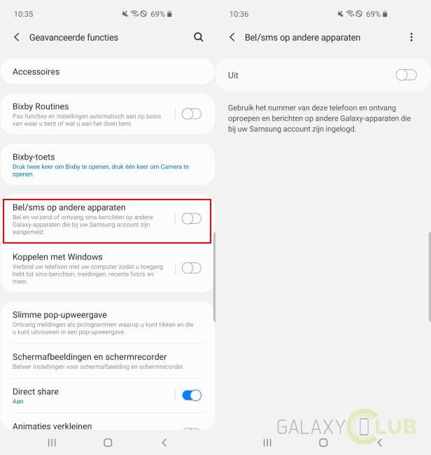 samsung bel sms op andere appareten nieuw