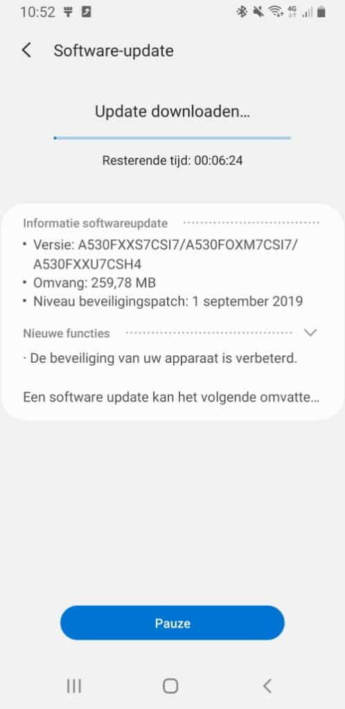 galaxy a8 update september 2019 changelist a530fxxs7csi7