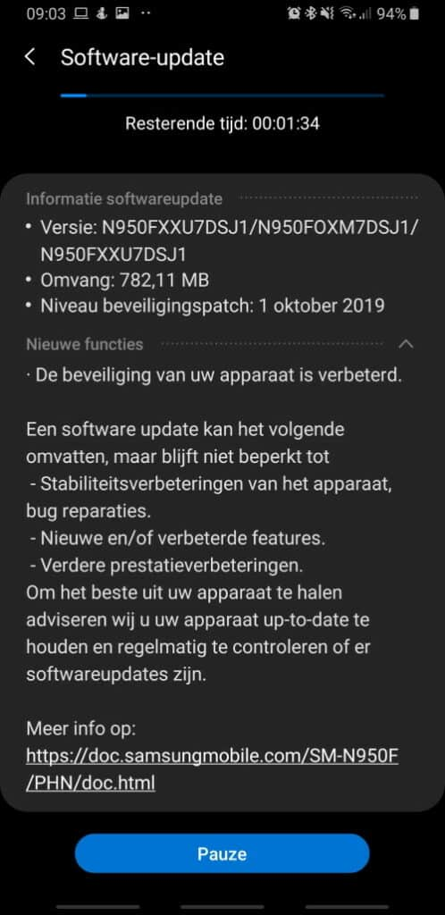 galaxy note 8 updat oktober 2019 changelist n950fxxu7dsj1