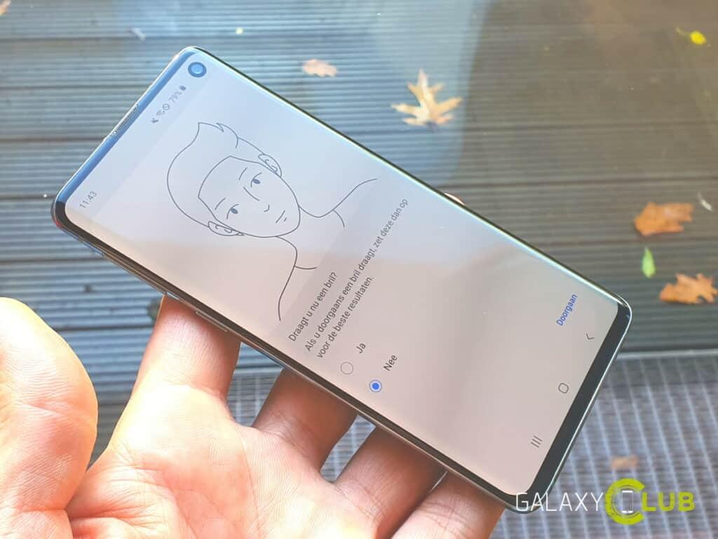 gezichtsherkenning op de samsung galaxy s10 met android 10