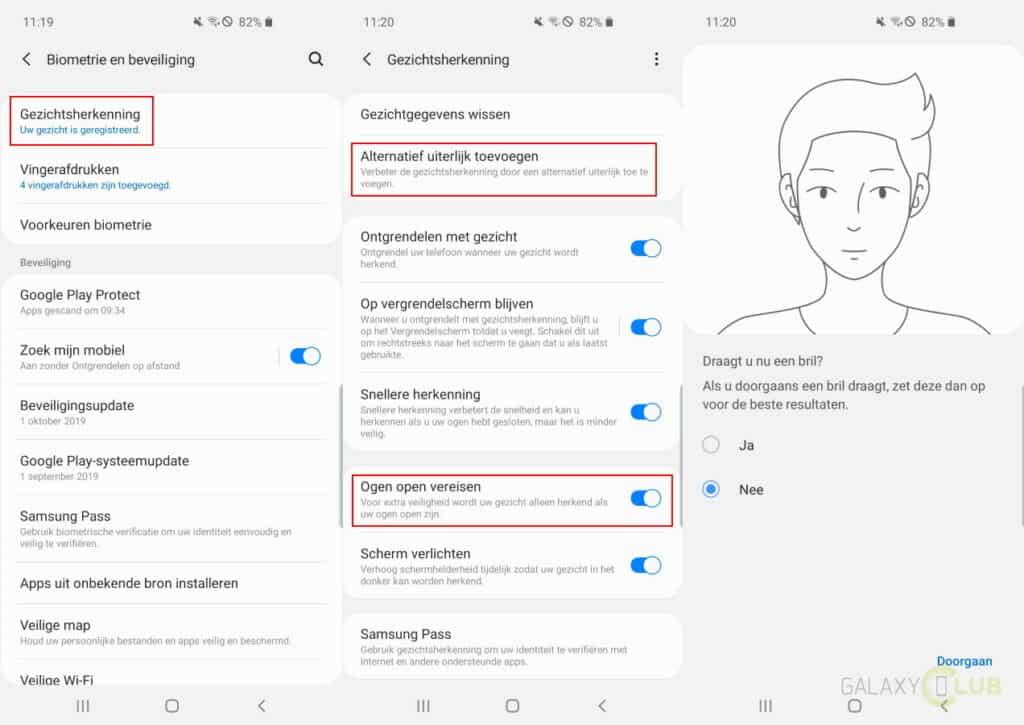 samsung galaxy s10 android 10 gezichtsherkenning nieuwe opties