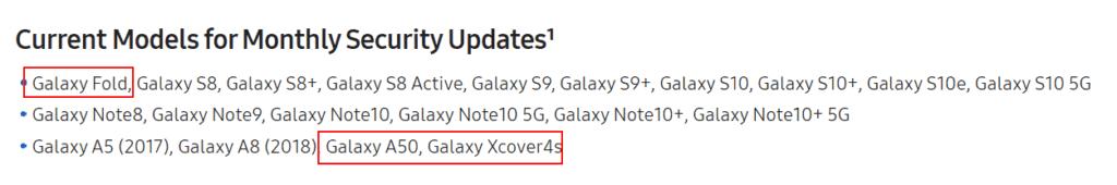 samsung maandelijkse updates: galaxy a50, fold, xcover 4s