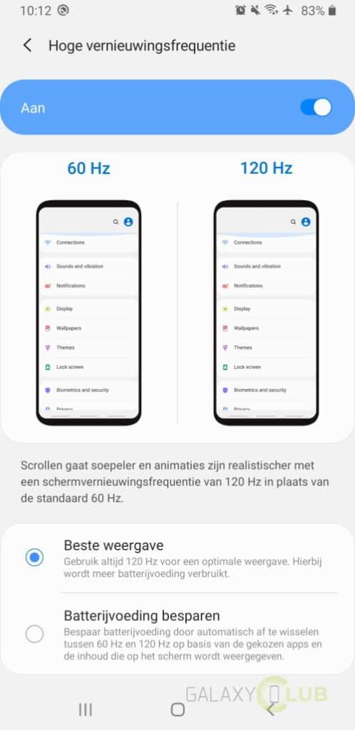samsung hoge vernieuwingsfrequentie note 9 met android 10