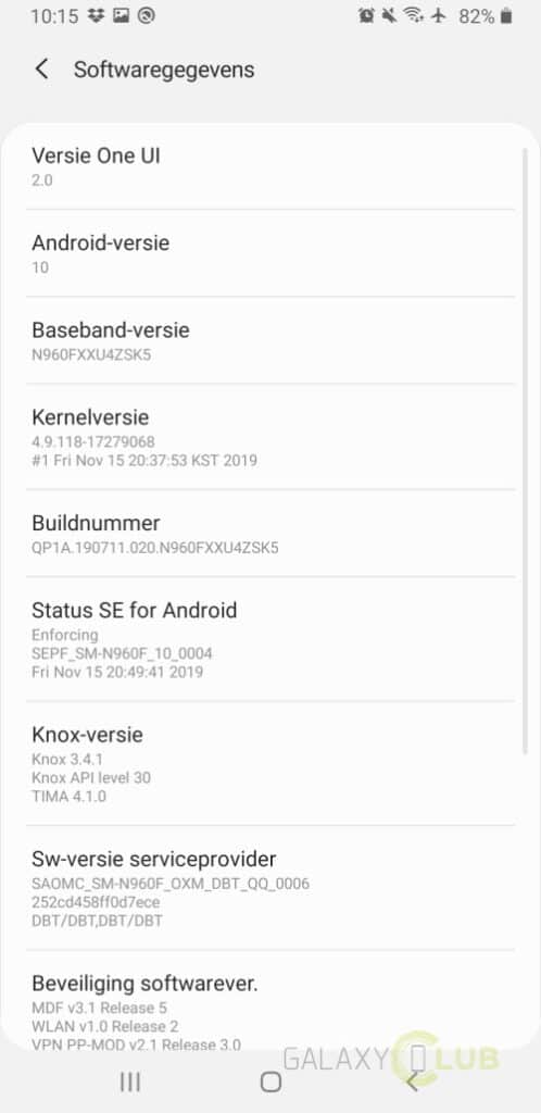 galaxy note 9 met android 10 softwaregegevens