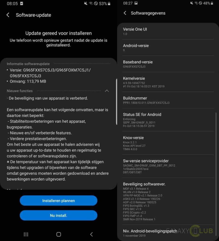samsung galaxy s9 update november 2019 changelog g965fxxs7csj3