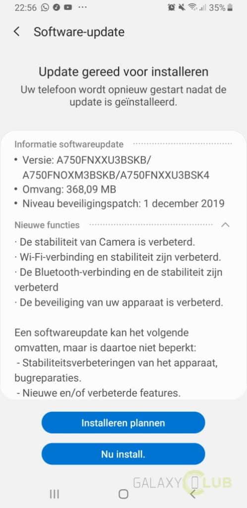 galaxy a7 update december 2019 a750fnxxu3bskb changelist