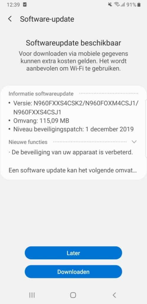 galaxy note 9 update december 2019 changelist n960fxxs4csk2