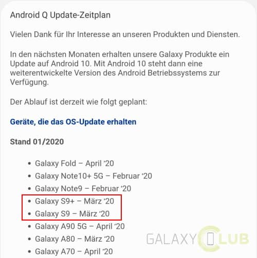 galaxy s9 android 10 samsung members duitsland