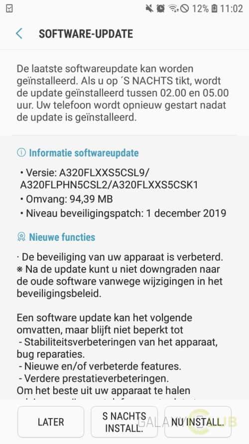 galaxy a3 2017 update december 2019 a320flxxs5csl9
