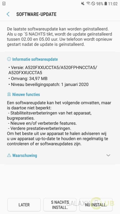 galaxy a5 2017 update januari 2020 a520fxxuccta5