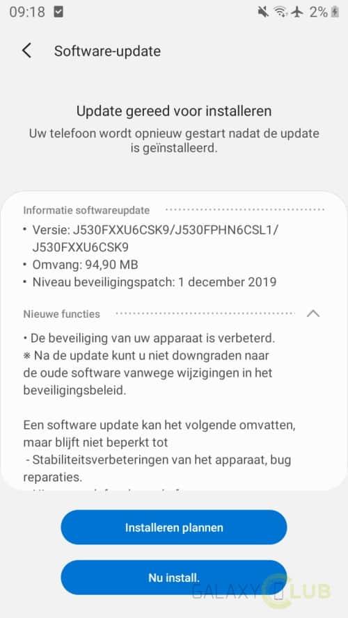 galaxy j5 2017 update december 2019 changelog