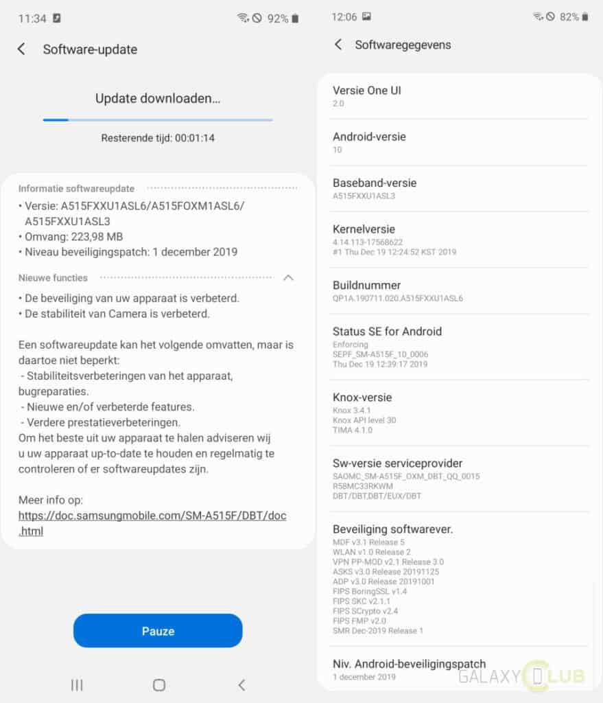 galaxy a51 update changelog a515fxxu1asl6