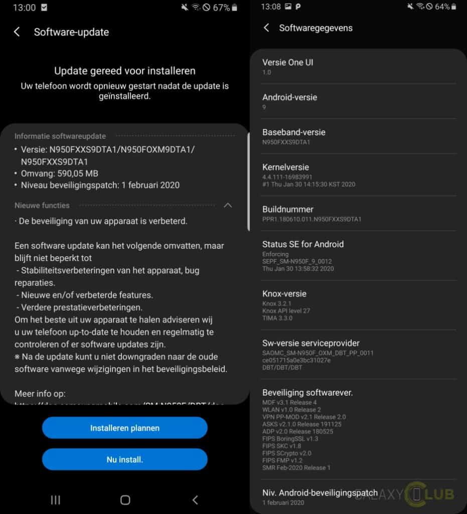 galaxy note 8 update februari 2020 changelist n950fxxs9dta1