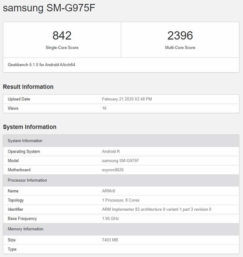 galaxy s10 plus android 11 r in geekbench sm-g975f