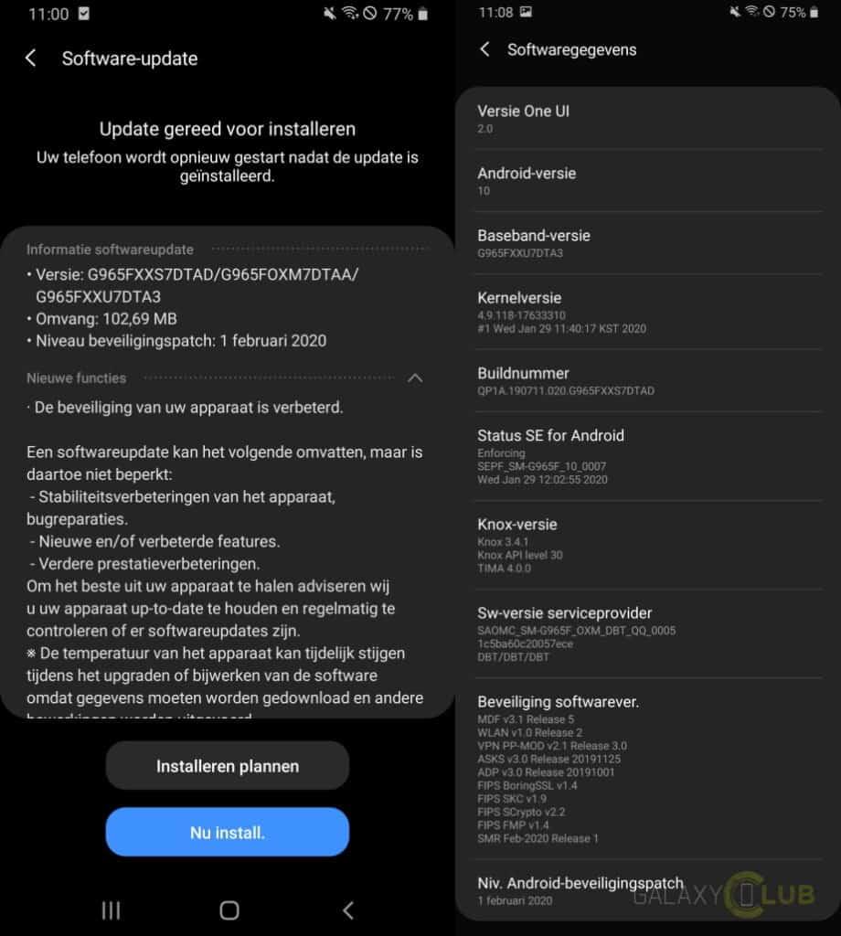 galaxy s9 update februari 2020 changelist g965fxxs7dtad