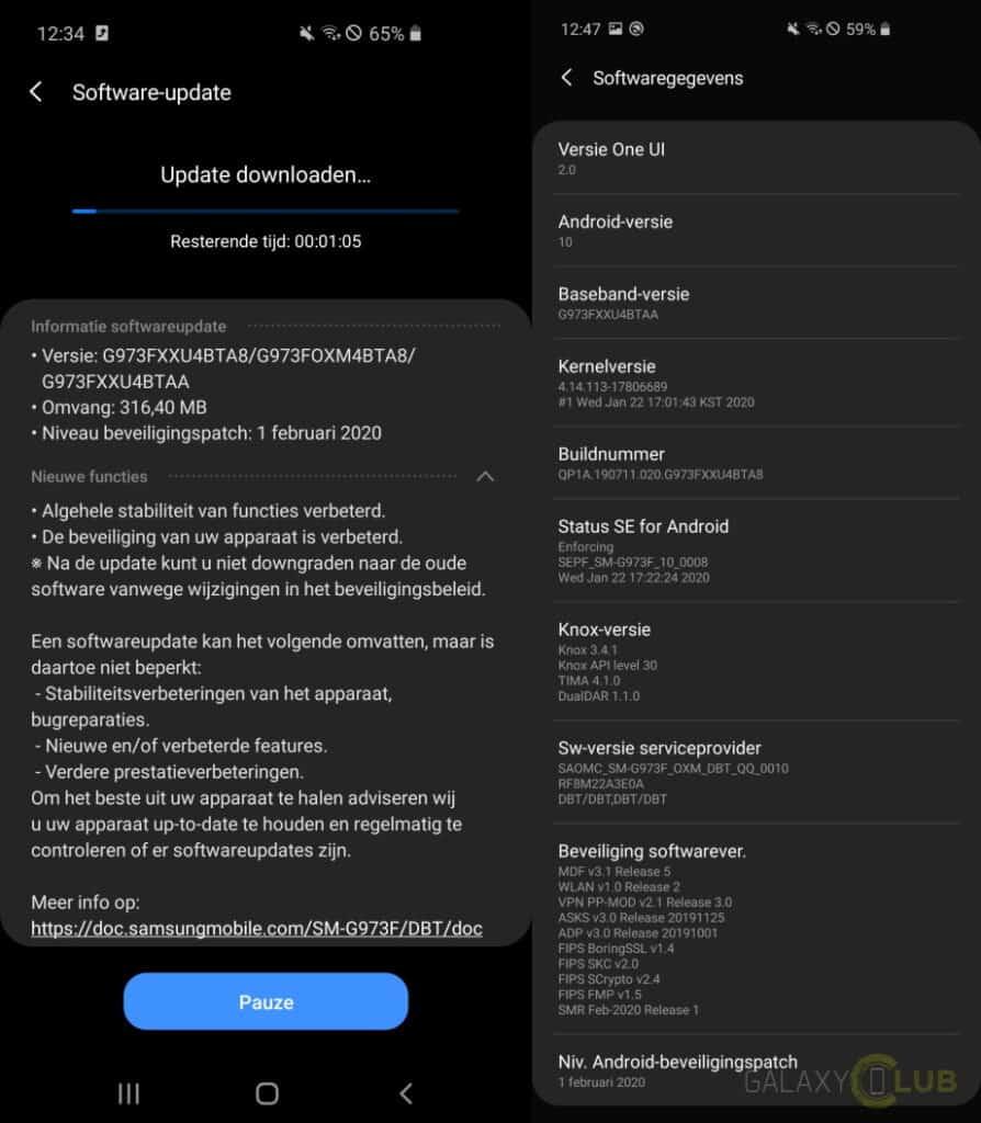 galaxy s10 update februari 2020 changelog g97efxxubta8