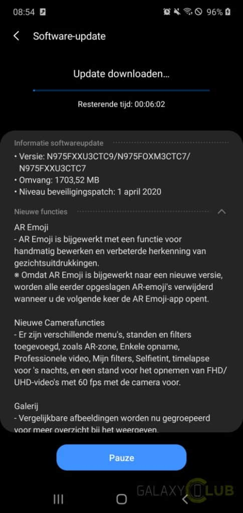 samsung galaxy note 10 update one ui 2.1 april 2020 changelog n975fxxu3ctc9
