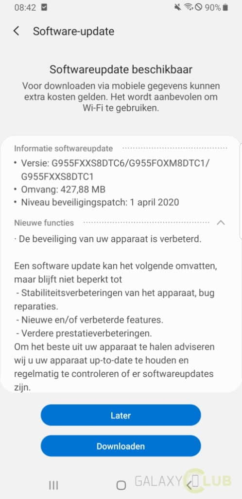 galaxy s8 update april 2020 changelog g955fxxs8dtc6