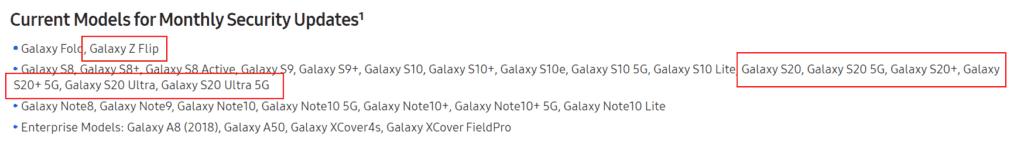 samsung updateschema galaxy z flip en s20 serie