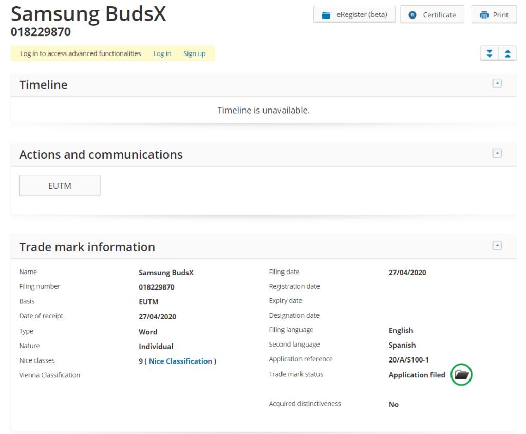 samsung budsx trademark