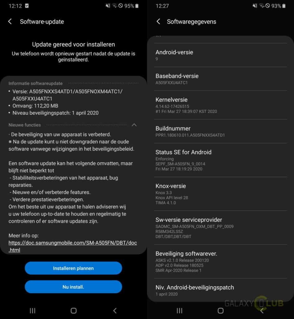 samsung galaxy a50 update april 2020 changelog a505fnxxs4atd1