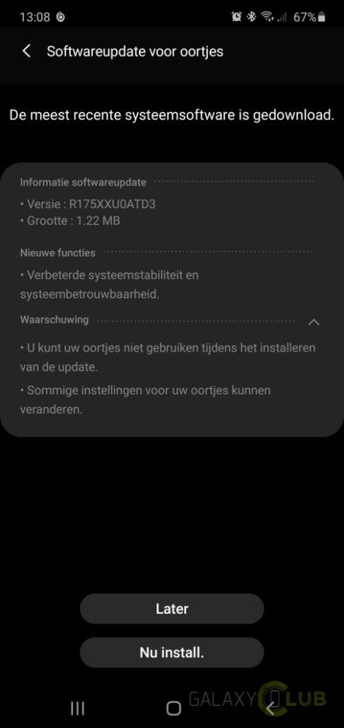 galaxy buds+ update r175xxu0atd3