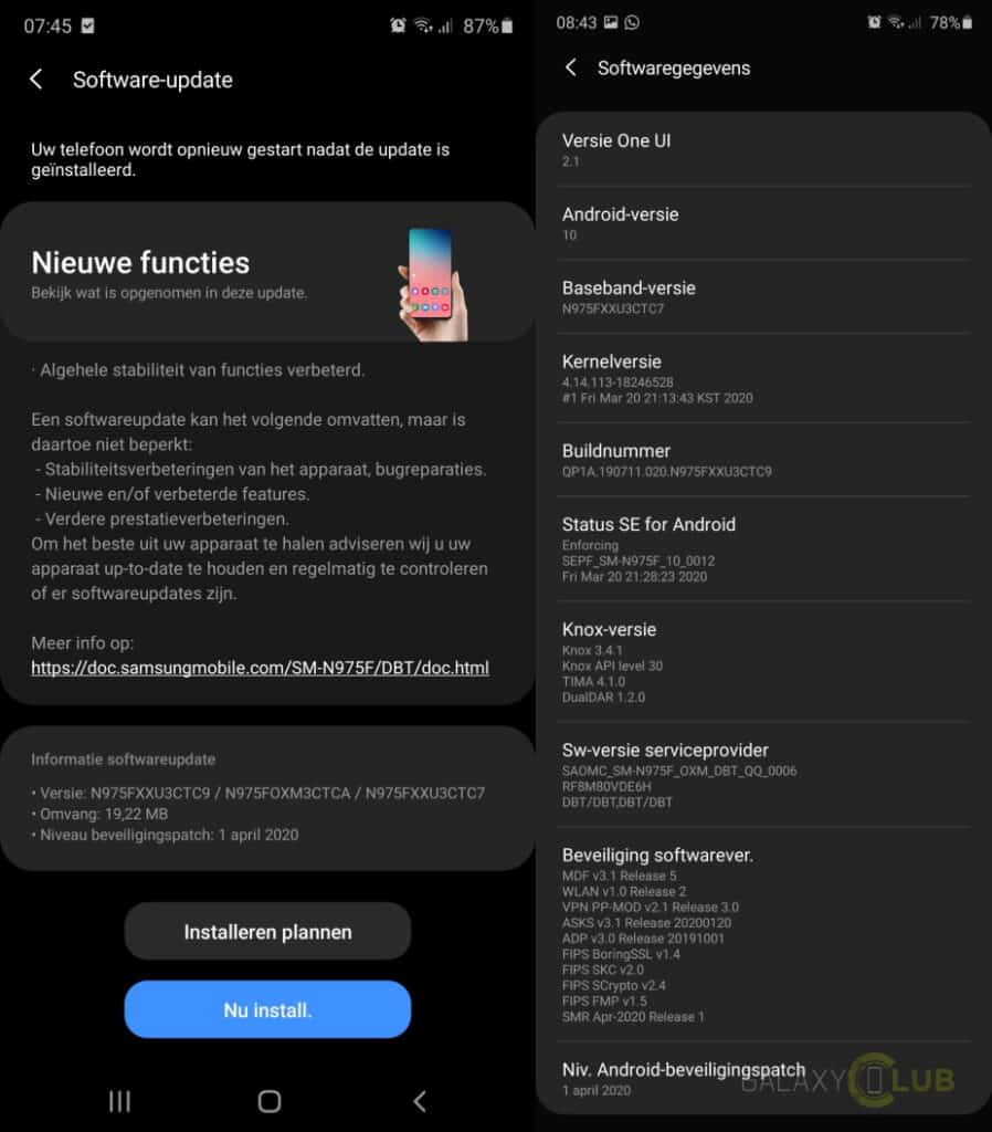 galaxy note 10 csc update changelog