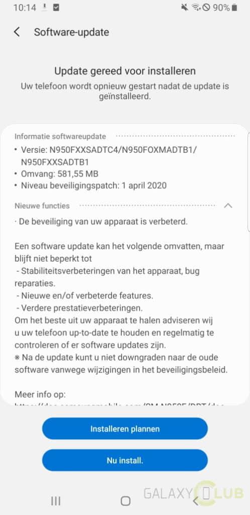 galaxy note 8 update april 2020 changelist n950fxxsadtc4
